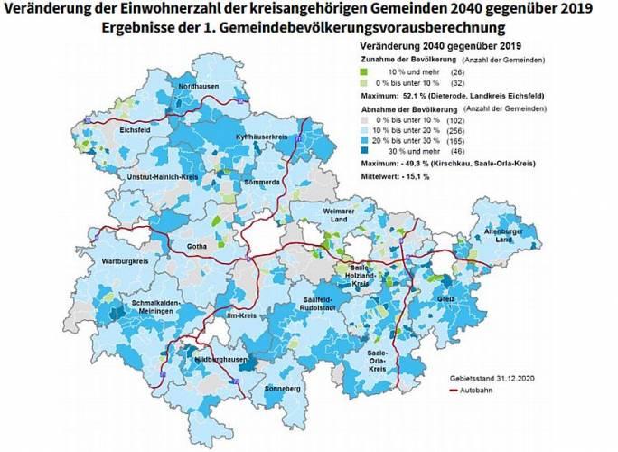 58 Thüringer Gemeinden werden bis 2040 wachsen
